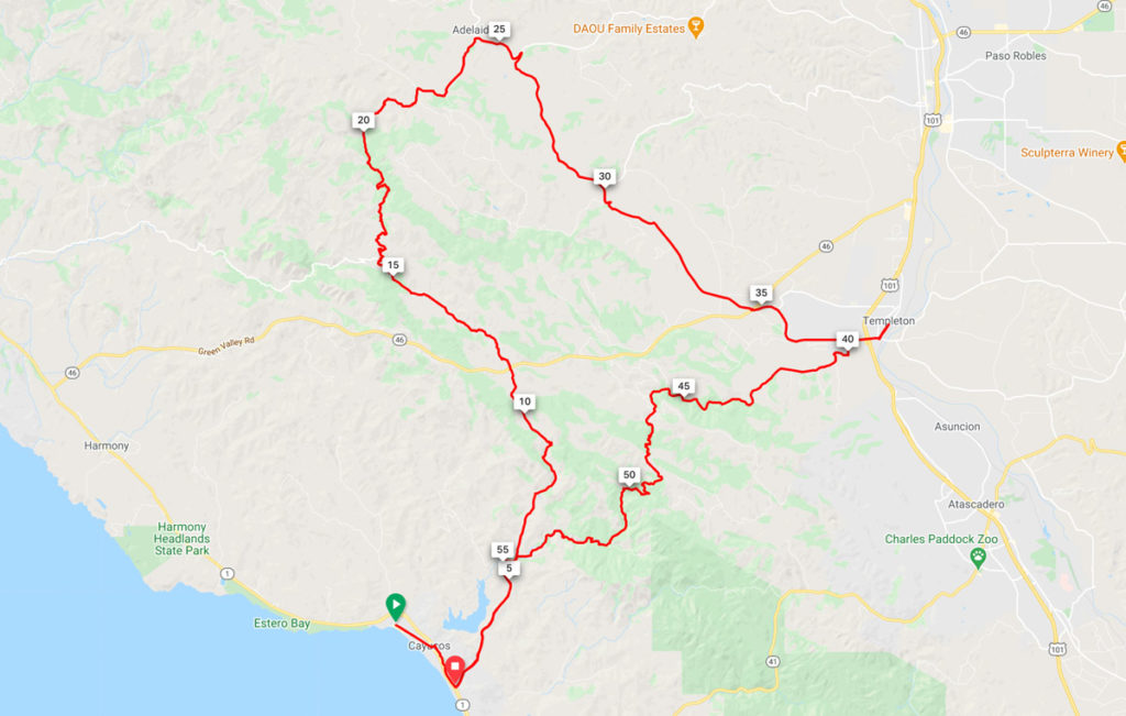 central coast gravel map: Cayucos to Paso Robles Wine Country